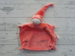 Difrax knuffeldoek softdoek velours zalm roze lichtroze small klein