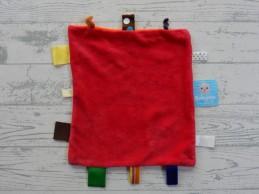 Snoozebaby knuffeldoek labeldoek velours rood oranje Rabobank