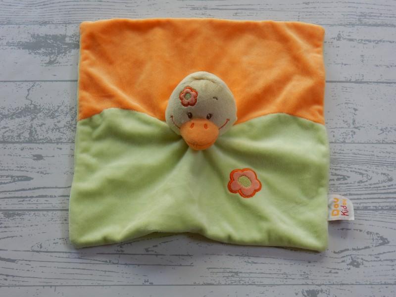 Doukidou knuffeldoek velours oranje groen geel bloemen Eend
