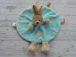 Nicotoy knuffeldoek rond velours lichtblauw lichtgroen konijn Noah
