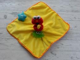 Sesamstraat knuffeldoek velours geel rood zeester krab Elmo
