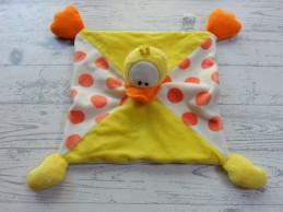 Anna Club Plush knuffeldoek velours geel oranje stippen Eend Guusje