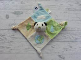 WWF knuffeldoek velours groen blauw beige Panda Pong
