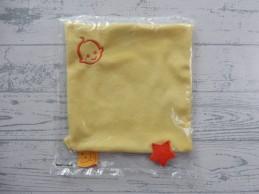 Zwitsal knuffeldoek labeldoek velours geel wit oranje ster Nieuw!