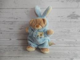 Nicotoy knuffel velours beige bruin lichtblauw konijnenpak Beer