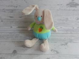 Eddy Toys knuffel velours beige blauw groen wortel Konijn