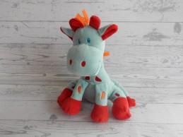 Tiamo knuffel velours blauw oranje rood Giraffe Gino 27 cm