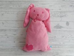 Lief! Lifestyle knuffel velours lichtroze roze wit gestreept Konijn