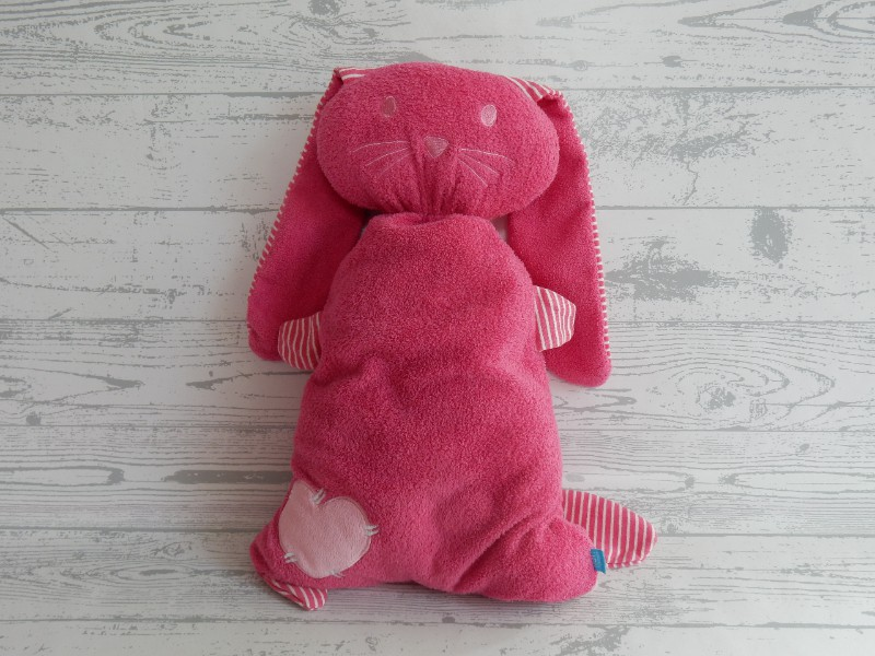 Lief! Lifestyle knuffel velours fuchsia roze roze wit gestreept Konijn