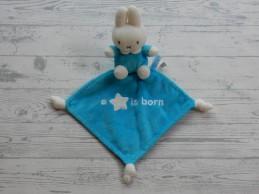 Nijntje knuffeldoek velours wit blauw A star is Born