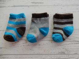 Set 3 paar babysokken blauw...