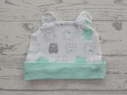 Babymutsje wit grijs groen...