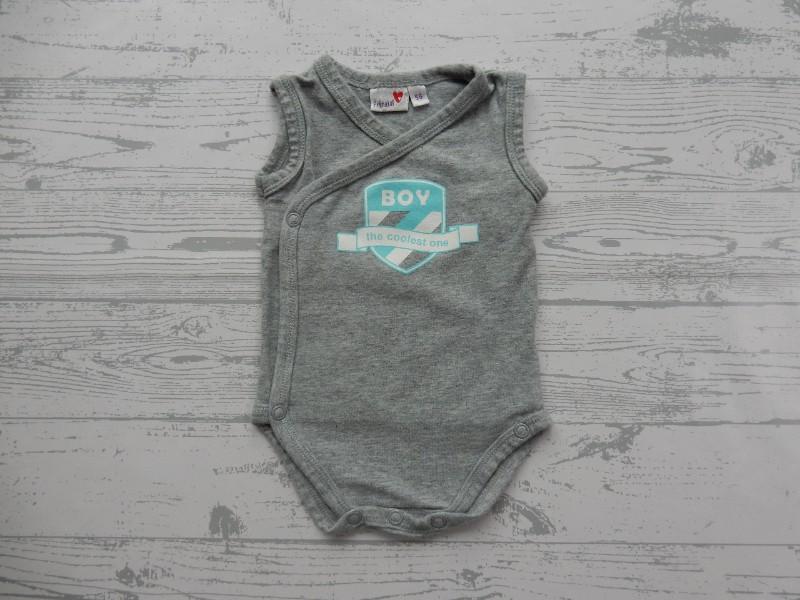 Prenatal romper overslag grijs wit blauw Boy the coolest one